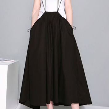 2019 Women Black Long Maxi Skirt Elastic Waist Pleated Infinite Skirt Convertible Girls Loose Casual Suspender Skirt 1388