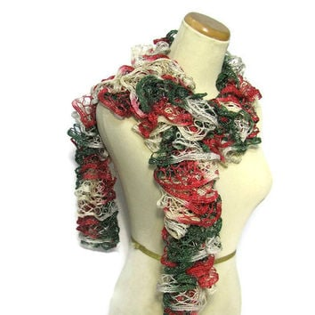 Victorian  Hand Knit Ruffle Scarf - Red Green Ecru