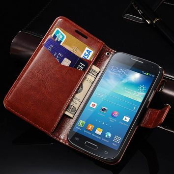 Wallet Leather Case for Samsung Galaxy S4 Mini i9190 Coque Flip Phone Bag Cover For Samsung S4 Mini Cases with Card Holder