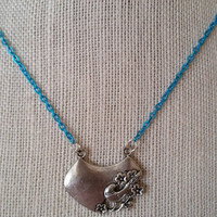 SALE Blue Necklace with Bird Pendant, Colored Chain Necklace