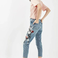 2017 Fashion summer jeans women clothing flowers embroidery light blue vintage denim pencil pants f
