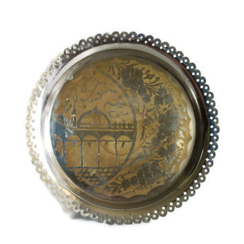 Islamic vintage metal serving tray. ETCHED GRAPES, mosque. Handmade etching, Ornate rustic silvertone, African Bedouin, Oriental home decor