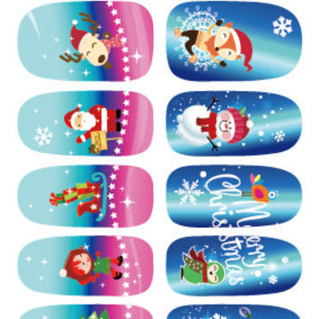 K5665 New Water Transfer Nail Foil Sticker Art Merry Christmas Deer Old Man Blue Snowflake Nail Wraps Sticker Manicure Decals
