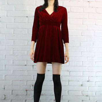 90's Vintage Dress / 1990's Velvet Dress / The Seattle Dress