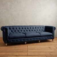 Linen Lyre Chesterfield Grand Sofa, Wilcox by Anthropologie