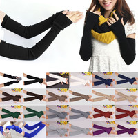 Hot New 40cm Winter Women Ladies Girl Long Cashmere Blend Gloves Arm Sleeve Warmers Mittens Wrist Arm Warmers Mittens Cheap Z2