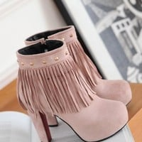 New Women Pink Round Toe Chunky Tassel Rivet Sweet Ankle Boots