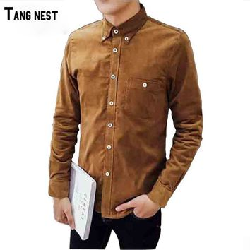 TANGNEST Men's 2018 New 14 Colors Big 5XL Size Corduroy Shirt Men Single Breasted Solid Warm Shirts Clothing For Male MCL1305