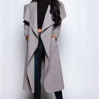 Evie Grey long Length Waterfall Coat at misspap.co.uk