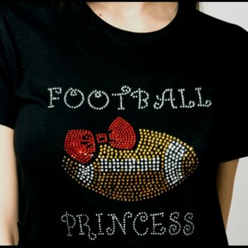 Shirt with Bling, Football Princess Bling shirt , Rhinestone.
