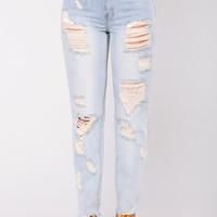 Edana Distressed Jeans - Light Blue