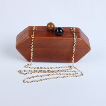 Women Hardcase Wooden Evening Box Clutch Handbags Metal Clutches Chains Shoulder Bag