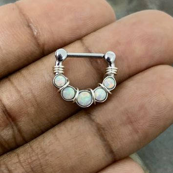 14g gauge Silver Wire wrapped Septum Clicker Opal Ring, Tribal Septum Ring Daith Hoop
