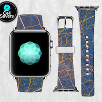 Blue Marble Rock Texture Gold Veins Navy Cool Custom Apple Watch Band Leather Strap iWatch for 42mm and 38mm Size Metal Clasp Watch Print