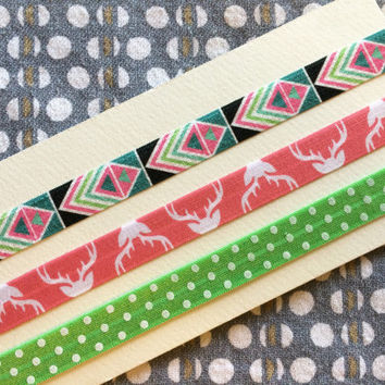 Electric Aztec Headband Set, Pink Deer Antler Headband, Green Dot Headband, Baby Headband, Child Headband, Boho Headband, Newborn Headband