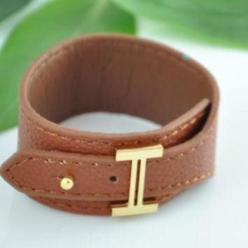 DCCKHI2 Brown Leather Bracelet, Leather Bracelet, Hermes Inspired Bracelet Tagre-