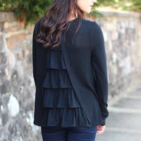 Ruffle My Back Sweater {Black}