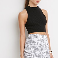 Abstract Crosshatch Mini Skirt
