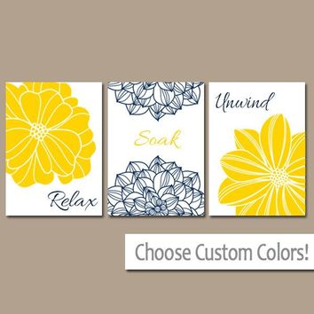 YELLOW Navy BATHROOM Decor, Flower Bathroom Wall Art, Canvas or Prints, Relax Soak Unwind, Yellow Navy Bath Pictures, Set of 3 Home Decor
