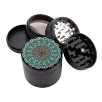 "Smoke Cloud Mandala - 2.25"" Premium Black Herb Grinder - Custom Designed"