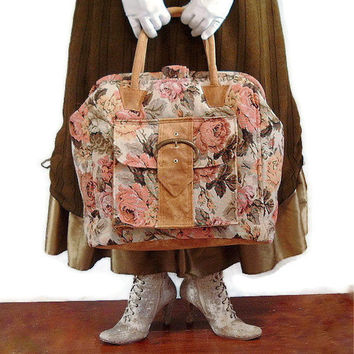 Mary Poppins Carpet Bag Floral Shabby Chic Tote
