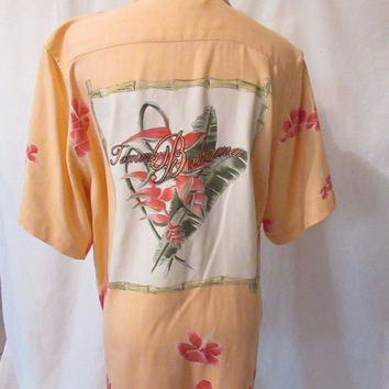 6168eb87266676 Tommy Bahama Back Embroidered Silk Shirt Blouse Women s Small Floral Peach