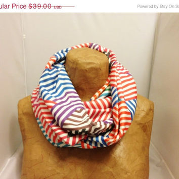 ON SALE Striped Knit Scarf - Rainbow Weave Chunky Infinity Scarf