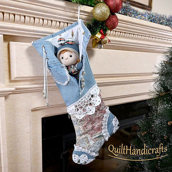 Christmas stockins light denim Jeans Christmas boot in the blue colors Style Shabby chic Unique gift Holiday home decoration Floral motifs