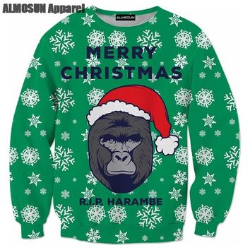 ALMOSUN We Gonna Party Ugly Christmas 3D All Over Print Crewneck Pullover Sweatshirts Hipster Funny Streetwear Casual Jumper