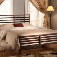 Bronze Metal Annabella Collection Bed Headboard Footboard Rails & Slats (Full)
