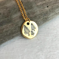 Gold Pine Tree Necklace, rustic stamped charm pendant nature mountain simple minimal tiny small hike camp climb gift for her