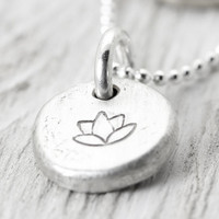 Silver Lotus Necklace - Lotus Flower Pendant - Organic Boho Style - Round Sterling Silver Lotus Pendant - Christina Guenther