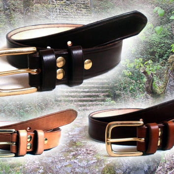 "Men leather belt, 1 1/4"" wide, solid brass buckle with 2 fixed leather loops, made  to order, in black, brown or tan"