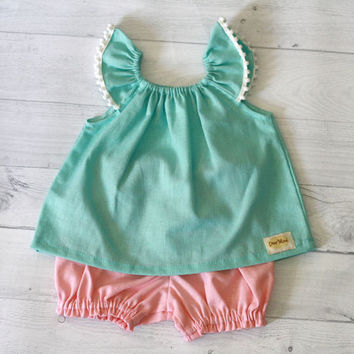 Mint green and coral linen baby set clothes, Baby shower gift, baby girl clothes