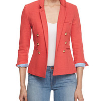 Smythe Rumpled Crepe Military Blazer, Nantucket Red