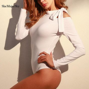 SheMujerSky White Women Bodysuit Bandage Bow Tie Bodysuits Off Shoulder Long Sleeve macacao feminino comprido