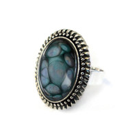 Oval Ring in Antiqued Silver tone with teal and violet center
