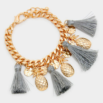 Gold Pineapple Tassel Charm Cuff Bracelet  - Grey