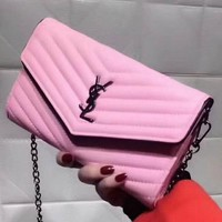 YSL Yves Saint laurent Women Leather Metal Chain Crossbody Satchel Shoulder Bag Pink G-LLBPFSH
