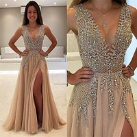 Bling Bling Gold Champagne Crystal Beaded Bodice Evening Dresses Deep V-Neck Side Slit Chiffon Robe De Soiree Party Prom Gowns