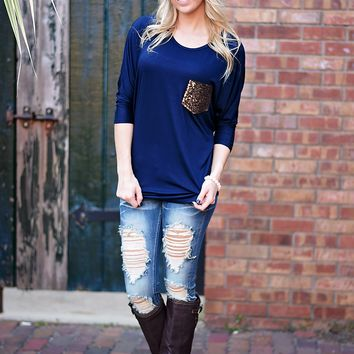 Glam Pocket Top - Navy