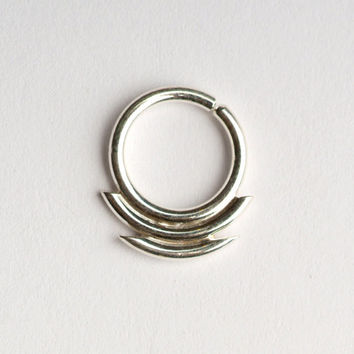 Septum Ring / Nose Ring/ with double  lines  sharp edges -   Sterling Silver 16g, 8mm or 10mm inside dimension