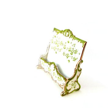 Antique French Letter Card Holder Ahrenfeldt SAXE Porcelain Mint Green Floral Ladies Desk Accessory Victorian Era
