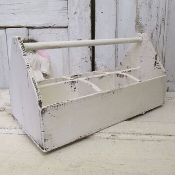 Wooden tool box caddie French Nordic white painted old salvaged tote large wood shabby cottage chic display storage piece anita spero design