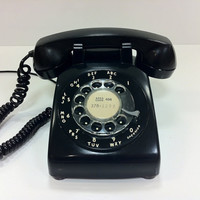 Black Rotary Telephone Western Electric 1965 by vintage19something