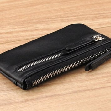 Valdez Zipper Leather Coin Pouch