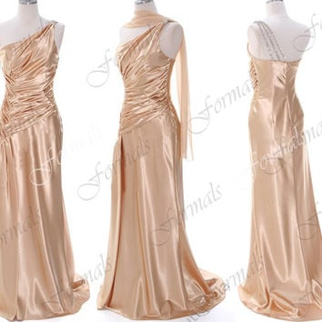 One Shoulder Floor Length Satin Champagne Prom Dresses, Wedding Party Dresses, Champagne Evening Gown