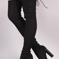 Drawstring Collar Heeled Over-The-Knee Fitted Denim Boots