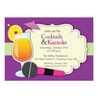 Karaoke and Cocktails Birthday Party 5x7 Paper Invitation Card