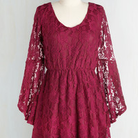 Boho Short Length Long Sleeve A-line Best in Sangria Dress